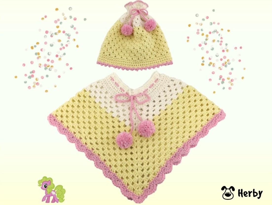 Herbys-Trendartikel - Häkelanleitung Babyponcho mit Mütze